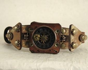 417 Steampunk Sundial Burning Man Boho Industrial Bracelet