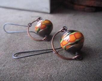ORANGE GARDEN Orange and green earrings Lampwork earrings Lampwork glass Colorful dangle earrings Urban chic earrings Boho Bohemian earrings