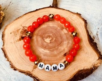 Gemstone Stretch Bracelet- MAMA- Jasper- Hematite