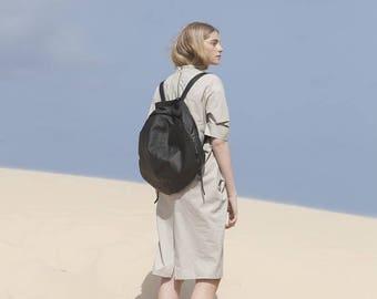 Sale, Black Circle Backpack, Large Leather Backpack, Computer Bag, Travel Backpack, Round Leather Backpack, Unisex, Handmade - Black Brixton
