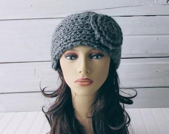 Gray Handknit Chunky Headband Ladies Teen Warm Winter Headband with Flower