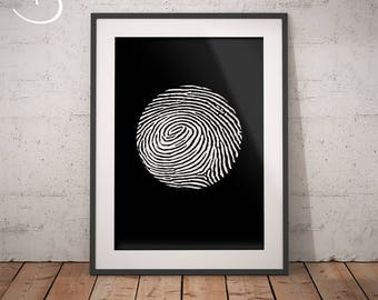 Fingerprint Minimalist Art Print, Wall decor, Fingerprint, Printable Poster, Digital File, Printable Decor, Instant Download Fingerprint