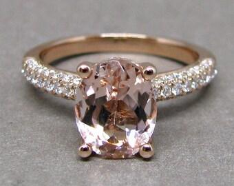 Oval Morganite Engagement Ring Pave Three Row Diamond 14k Rose Gold Wedding Bridal Ring 9x7mm