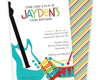Music Birthday Invitation / Music Invitation / Music Party/ Music Birthday Party/ Music Theme Party/ Birthday Invitation/ Music Invite | 634