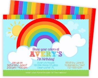 Rainbow Invitation, Rainbow Party, Rainbow Birthday Invitation, Rainbow Birthday, Rainbow Birthday Party, Rainbow Invites, Rainbow Baby  413