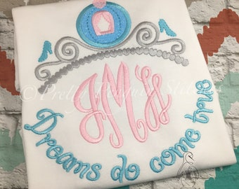 Cinderella Inspired Monogrammed Shirt- Vacation Shirt- Dreams do Come True- Embroidered- Princess Coach- Glass Slippers