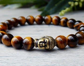 Men's Tiger Eye Bracelet, Men's Buddha Bracelet, Men's Gemstone Bracelet, Gift for Him, Men Bracelets