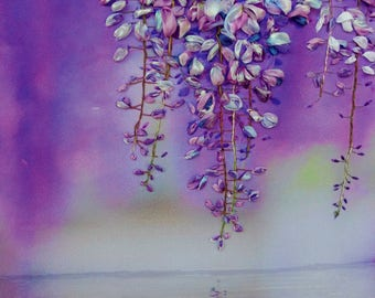 """picture """"Sunrise with wisteria"""",  Silk ribbon embroidery, roses, ribbonwork,ribbonflowers,"""