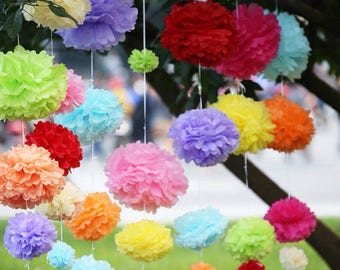 All Colours Tissue Paper Pom Poms - Wedding Party Birthday Baby Shower Nursery Home Baptism Event Anniversary Engagement Decor