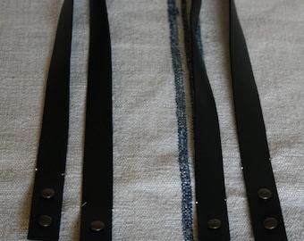 Handles of 75 CM black calf leather bag