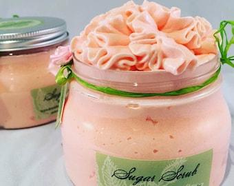 APRICOT- Facial Sugar SCRUB- SPA Uptown Luxury Green Label Line 8 fl oz, designer jar. Handmade, vegan, Gift