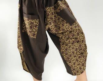 HC0112 Women's Thai Button Up Cotton Pants in Brown