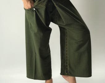 FD00 Hand Sewing Inseam design for Thai Fisherman Pants Wide Leg pants, Wrap pants, Unisex pants