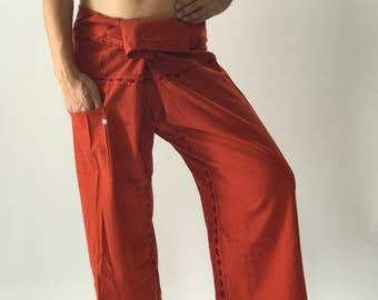 FW0014 Hand stitch Inseam design for Thai Fisherman Pants Wide Leg pants, Wrap pants, Unisex pants
