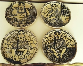 Mexican Folk ART Pottery Plates 8 inch Set of Four Signed Dated Tzintzuntzan Ceramic Black and White Angelica Morales Gamez Majolica Market