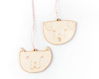 Cute Cat Dog Wooden Holiday Christmas Ornaments- Lasercut Birch (set of 2)