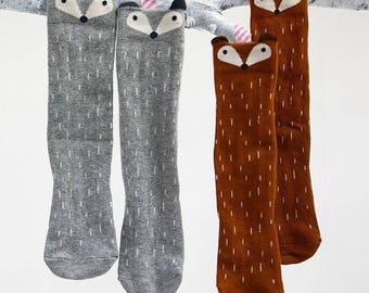 Peeking Fox Knee High Socks, Little Knee Socks, Girls Socks