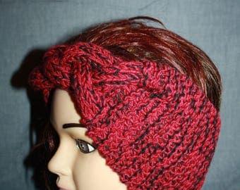 Burgundy and black, very nice headband with braided Center