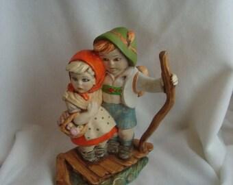 25% OFF Sale Vintage Ceramic Boy Girl pair
