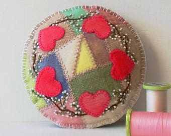 Handmade Valentine Hearts Felted Wool Embroidered Crazy Patch Pincushion