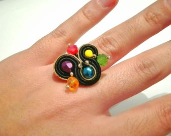 Soutache black ring, big hippie ring, adjustable ring, colorful ring, funny ring, vintage ring, original ring, bohemian jewel, flamenco ring
