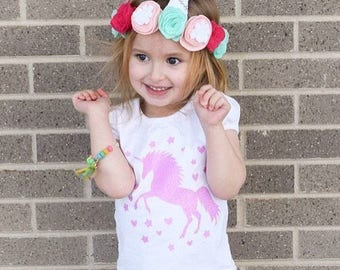 Magical Unicorn with Hearts and Stars Sparkly Baby Kids Girls tee tank top outfit shirt
