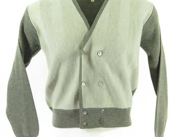 Vintage 50s Rockabilly Cardigan Mens M Deadstock Sweater Justers Double Breasted [H52U_1-2_Shelf]
