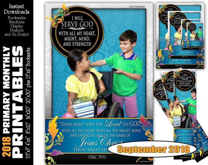 Printable Primary Monthly Posters September 2018 I am a Child of God Poster Bookmark and Handouts 5 sizes XL poster size down to handouts