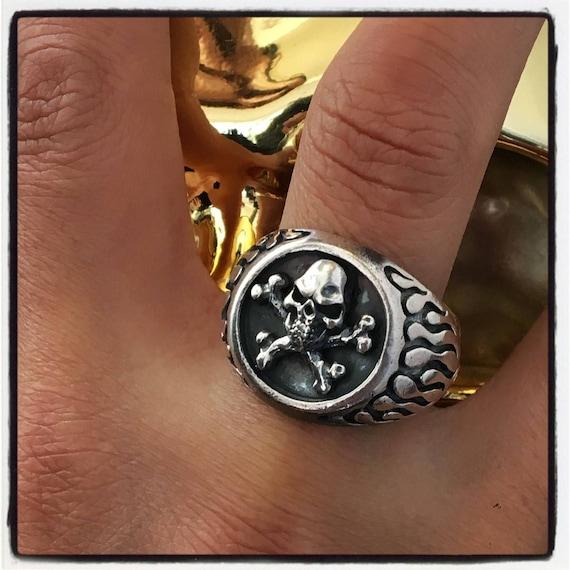 Etherial Jewelry - Rock Chic Talisman Luxury Biker Custom Handmade Artisan Pure Sterling Silver .925 Badass Skull and Bones Designer Ring