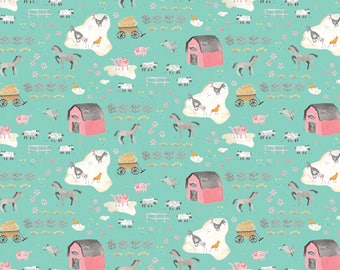 NEW! Pre-Order Sale, Tiny Farm Aqua, Fabric Yard, Hill & Dale Collection 2017, by Ana Davis For Blend Fabrics, 113.113.05.2
