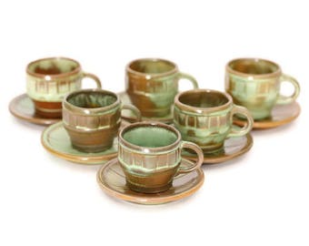 Frankoma, Frankoma Cup and Saucer, Frankoma Prairie Green Cup and Saucer, Frankoma Prairie Green Wagon Wheels Cup and Saucer, Cups & Saucers