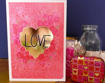 Love Hand Painted, Gold Foiled A6 Greetings Card, Blank Card, Love Card, Valentine's Card, Flowers Card, Roses Card, I Love You Card, Heart