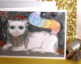 Wizard , Hand Illustrated Cat Greetings Card , Cat Card, Rainbow Cat Card, Illustrated Cat Card, Hand Illustrated Cat Card, Magic Cat Card
