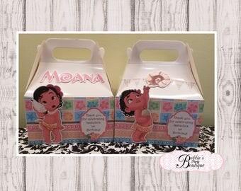 Baby Moana favor box,  Baby Moana gable box, 10 Baby Moana party favor gable box, Baby Moana Party box