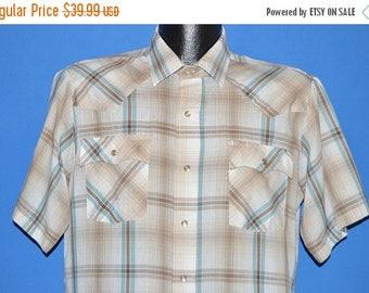 ON SALE 80s Levis Off White Blue Plaid Western Shirt Large
