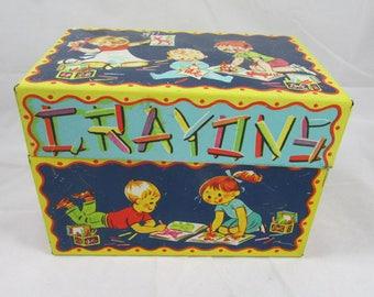 CHEIN Tin Litho Musical Crayon Box Vintage