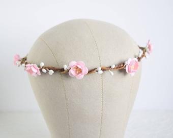 Cherry Blossom Flower Crown, bridal flower crown, spring wedding, rustic flower crown, pink flower crown, flowergirl crown - BLOSSOM