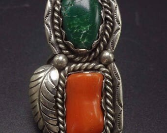 Vintage NAVAJO Sterling Silver Branch CORAL & Green Turquoise RING, size 8.25