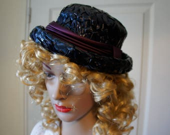 Straw Hat vintage artificial Navy style 1950/1960