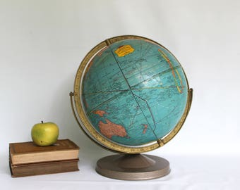 """Vintage 12"""" Crams IMPERIAL Mid Century Reference World Globe on Metal Stand"""