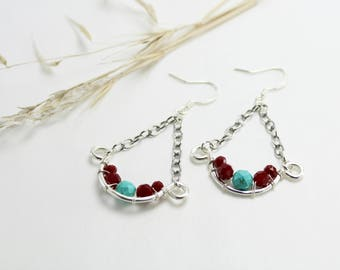 Turquoise, Red and Silver Swing Earrings