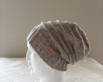 Biege wool women slouchy handmade knitted beanie, beige knit beanie, women knit hat, slouchy knitted beanie.