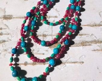 Fun & Flirty Turquoise Agate Garnet Necklace