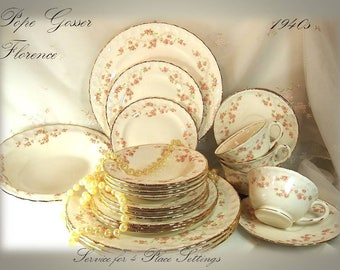 Vintage 1940s Pope Gosser (Scalloped Edge) Dinnerware Set, in Florence Pattern 3025, Service for 4 Place Settings