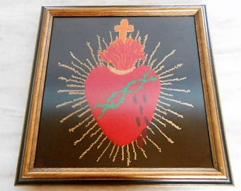 Sacred Heart Embroidered or Crewel Work Framed Picture, c. 1970