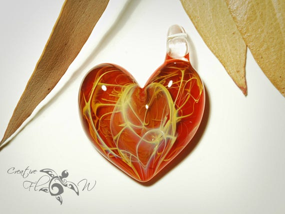 Heart Pendant - Red Love Heart - Glass Jewelry - Glass Art - Blown Glass - Love Pendant - Unique Art Bead - Made with Pure Silver