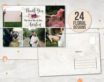 """Wedding Thank You Postcard - MedleyCollage II Rustic Floral Wedding Photo Collage Thank You Cards Personalized 4""""x6"""""""