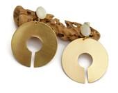 Brass hoop earrings, Clip on earrings, Geometric Earring, Gold earrings, Ethnic hoop earrings, Boho earrings, Gypsy earrings, Tribal jewelry