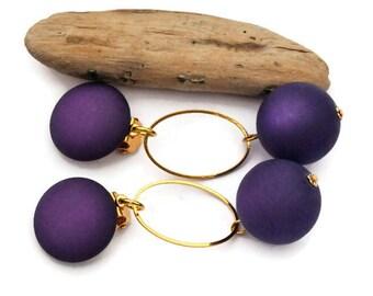 Purple earrings, Clip on earrings, Large purple earrings, Modern earrings, Long earrings, Statement earring, Bridesmaid gift, For Her II