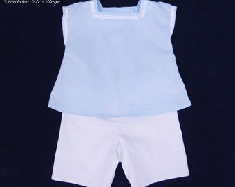 All baby blouse and short blue and white - 12 months